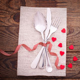 Valentines dinner on wooden background Royalty Free Stock Image