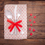 Valentines dinner on wooden background royalty free stock photography