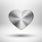 Valentines dnia serce z metal teksturą royalty ilustracja