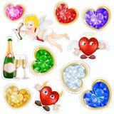 Valentines elements stickers royalty free illustration