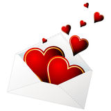 Valentines envelope. Hearts in love coming out from a envelope stock illustration