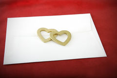 Valentines Envelope with Gold Hearts Royalty Free Stock Photography