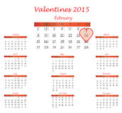 Valentines 14 february. Valentines day 14 february calendar Stock Photography