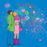 Valentines fireworks. Valentines Day card, cartoon hand drawn illustration of two lovers watching fireworks and hearts in the sky Stock Images