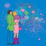 Valentines fireworks Stock Images