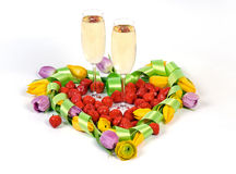 Valentines Flower Heart with Champagne Royalty Free Stock Photography