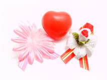 Valentines with flowers. Scenery on a white background to day of Sainted Valentine Stock Photo