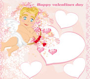 Valentines frame with a sweet cupid Royalty Free Stock Photography