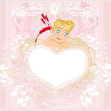 Valentines frame with a sweet cupid Stock Image