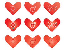 Valentines with gender symbols Stock Images