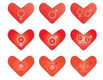 Valentines with gender symbols Stock Images