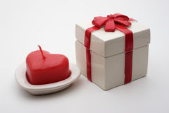 Valentines gift. Valentine candle Stock Image
