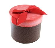 Valentines Gift Box. With red bow isolated on white Royalty Free Stock Images