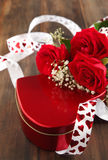 Valentines gift box and bouquet of roses Stock Photography