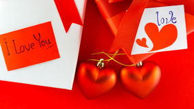 Valentines gift box with a red bow on red background Image of Va Royalty Free Stock Images