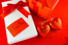 Valentines gift box with a red bow on red background Image of Va Royalty Free Stock Photo