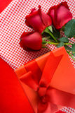 Valentines gift box with a red bow on red background Image of Va Royalty Free Stock Image