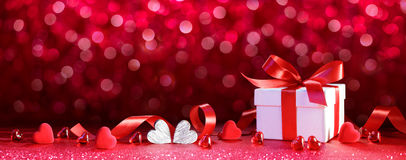 Valentines Gift - Giftbox With Hearts. And Ribbon stock image