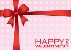 Valentines Gift with Red Ribbon Vector Illustration Royalty Free Stock Image