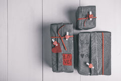 Valentines gifts box with hipster ornaments. Aereal view. Stock Photography
