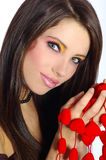 Valentines girl with red heart Royalty Free Stock Image