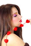Valentines girl with red heart Stock Photography