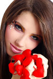 Valentines girl with red heart Royalty Free Stock Photos