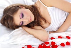 Valentines girl with red heart Royalty Free Stock Photo