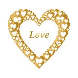 Valentines gold background with dark gold heart with gold hearts composition. Greeting for lovers and for Mother`s Day Stock Photography