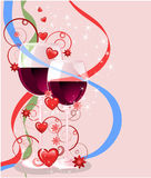 Valentines greeting card. Postcard  on the Valentine`s  day with images  hearts, flowers, ribbons, glasses of wine and stars Royalty Free Stock Photos