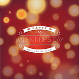 Valentines greeting card with abstract background. Valentines greeting card with abstract blurry background Royalty Free Stock Image
