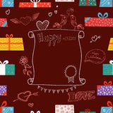 Valentines greeting card. Different color gift boxes. Design elements Royalty Free Stock Images