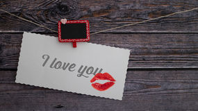 Valentines greeting card with I love you text and lipstick kiss Stock Photos