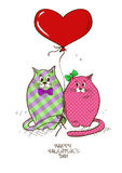 Valentines greeting card with pair of cats Stock Photography