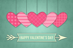 Valentines Greeting Card with pink Hearts on retro Wallpaper Background Stock Photo