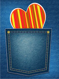 Valentines greeting card. Red heart in denim pocket illustration Royalty Free Stock Photos