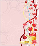 Valentines greeting card, vector illustration. Greeting  on the  Valentine`s day with hearts, flowers and ribbons Royalty Free Stock Photography