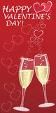 Valentines greeting with champagne and hearts Stock Photos