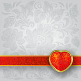 Valentines greeting with red heart Royalty Free Stock Photography