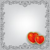 Valentines greeting with red hearts Stock Photography