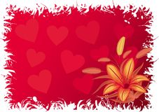 Valentines grunge background with hearts, vector. Valentines grunge background with hearts and flowers, vector illustration Stock Photography