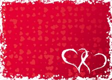 Valentines grunge frame with hearts, vector Stock Image