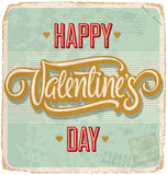 VALENTINES hand lettered vintage card (vector) Stock Photos