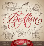VALENTINES hand lettering set (vector) Royalty Free Stock Images