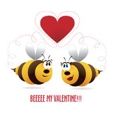 Valentines hearst with bees couple Stock Photo