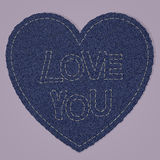 Valentines Heart as Blue Jeans denim Element. Vector Patch, Fragments on pink Background. Stock Photography