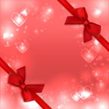 Valentines heart background, love card. Greeting postcard red bows ribbons Stock Photos