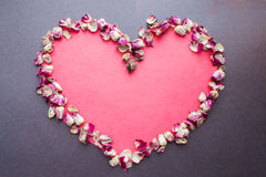 Valentines heart background rose petals Stock Photography