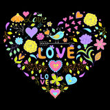 Valentines heart  on black background. Vector illustration of floral valentines heart  on black background Royalty Free Stock Photo