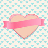 Valentines heart with a blank ribbon banner. Beautiful romantic card design with an anniversary, wedding or Valentines heart with blank pink ribbon banner on a Stock Photo